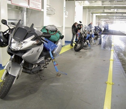 Motorbike secured on Brittany Ferries